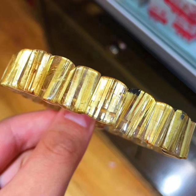 Высшее качество натуральный Золотой рутилированный кварцевый кристалл бразильский 12,3x8 мм кристалл драгоценный камень прямоугольные бусины браслет сертификат AAAAAA