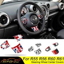 Dla Mini Cooper pokrywa koła kierownicy akcesoria do dekoracji wnętrz naklejki dla R55 R56 R57 R58 R59 R60 JCW Clubman Countryman
