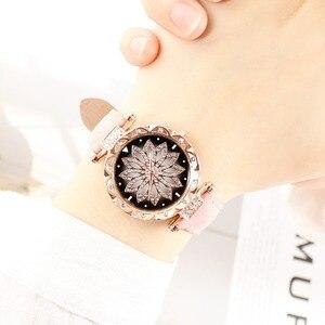 Image 2 - נשים כוכבים בשמי שעון יוקרה רוז זהב יהלומים שעונים גבירותיי מקרית רצועת עור קוורץ שעוני יד נקבה שעון zegarek damski