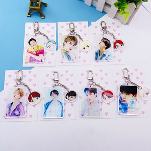KPOP Bangtan Boys Cartoon Acrylic Keychain Pendant Accessories JIMIN V JIN JK SUGA J-HOPE RM Keyring Jewelry Gift for Fans