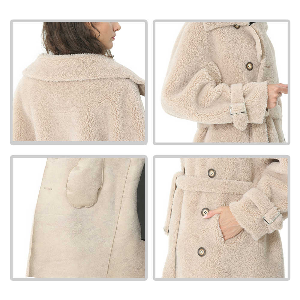 Casaco de inverno feminino casaco de lã longo algodão duplo breasted preto casacos feminino outerwear jaqueta moda feminina misturas casaco 2019