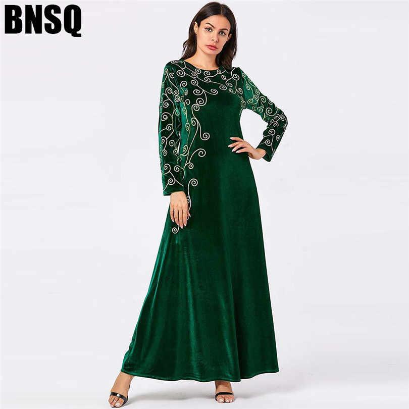Арабское золото бархат вышитые абайя индийская одежда для женщин Punjabi Kurta вечерние макси с длинным рукавом пакистанские платья Caftan Mar