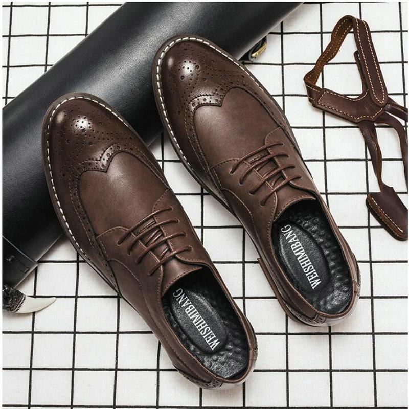 Diseñador Formal hombres zapatos de vestir de cuero masculino clásico Brogue zapatos planos Oxfords para boda Oficina negocios A53-79