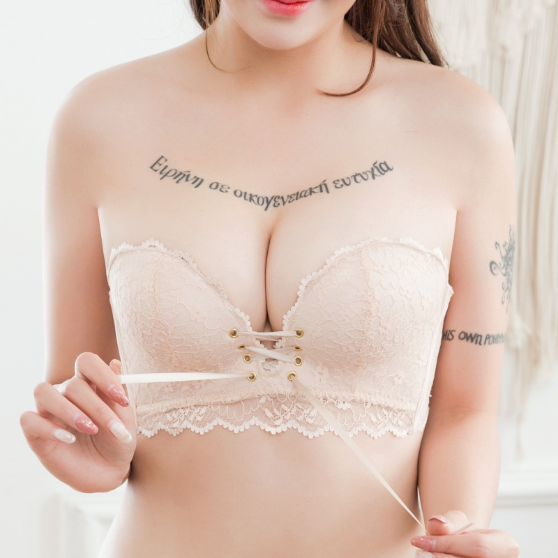 Women Drawstring Push Up Bras Sexy Lace Floral Padded Underwear Intimates Seamless Back Closure Lace Up Bra