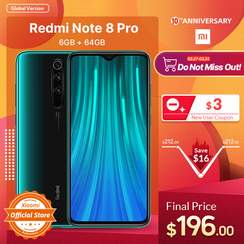 Xiaomi Redmi Note 8 Pro 6GB 64GB LTE/GSM/WCDMA NFC Quick charge 3.0/usb-Pd Liquidcool/Gorilla glass/Bluetooth 5.0/Game turbogpu turbo title=