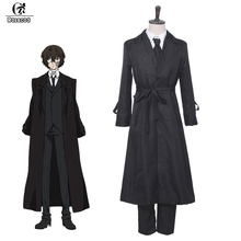 ROLECOS Anime Bungou Stray Dogs Cosplay Costume Dazai Osamu Cosplay Costume Men Black Trench Pant Tie 4PCS Sets Outfit Halloween