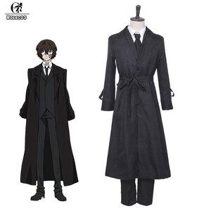 Image 1 - ROLECOS Anime Bungou sokak köpekleri Cosplay kostüm Dazai Osamu Cosplay kostüm erkekler siyah siper pantolon kravat 4 adet setleri kıyafet cadılar bayramı