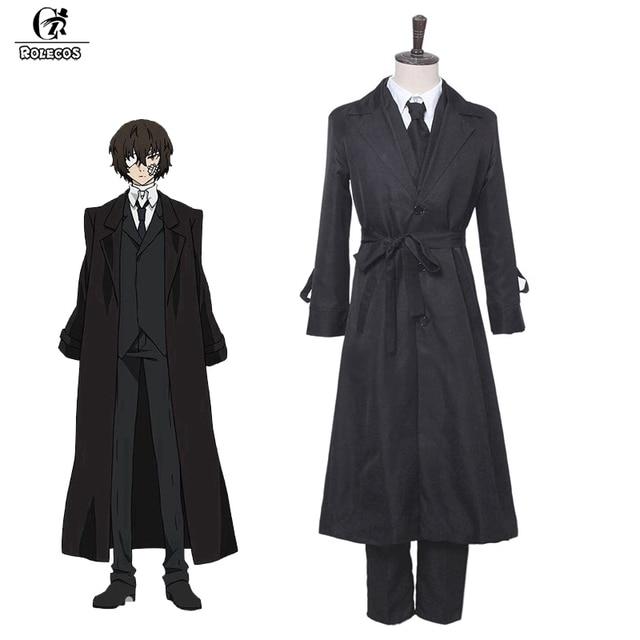 ROLECOS Anime Bungou sokak köpekleri Cosplay kostüm Dazai Osamu Cosplay kostüm erkekler siyah siper pantolon kravat 4 adet setleri kıyafet cadılar bayramı