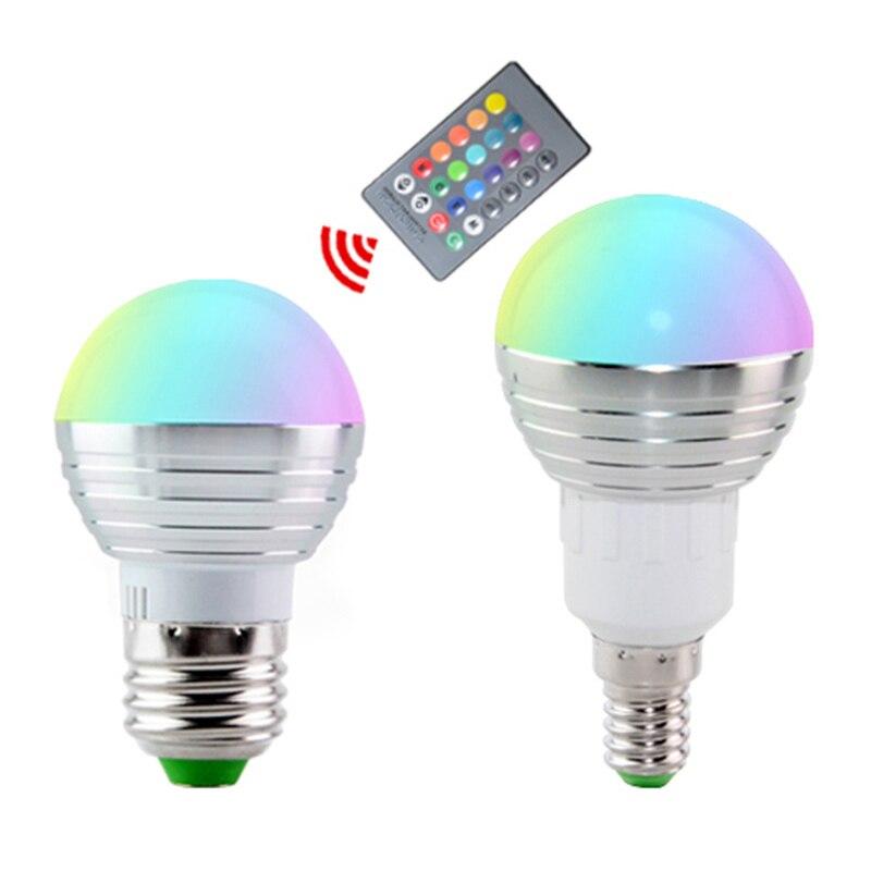 E27 E14 LED Wireless Bulb Light RGB Play Lamp LED RGB Bulb lamp AC110V 220V LED RGB Spotlight dimmable IR Remote Control