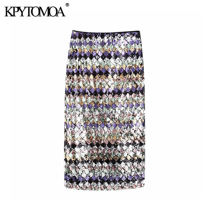 Vintage Sexy Sequin Midi Skirt Women 2019 Fashion High Waist Side Zipper Back Vents Female Skirts Casual Faldas Mujer