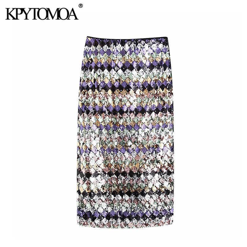 Vintage Sexy Sequin Midi Skirt Women 2020 Fashion High Waist Side Zipper Back Vents Female Skirts Casual Faldas Mujer