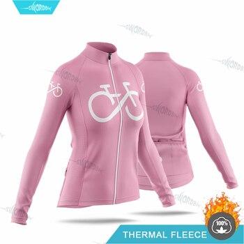 Jersey de Ciclismo de manga larga para Mujer, uniforme térmico de lana,...