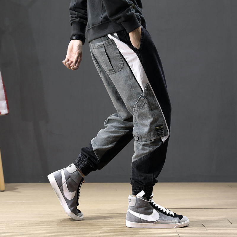 Autumn Fashion Streetwear Men Jeans Spliced Designer Multi Pockets Harem Jeans Men Cargo Pants Korean Hip Hip Jogger Jeans Homme