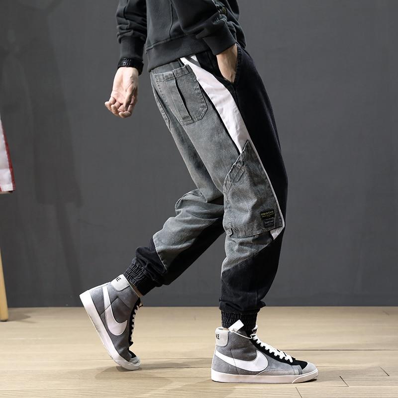 Autumn Fashion Streetwear Men Jeans Spliced Designer Multi Pockets Harem Jeans Men Cargo Pants Korean Hip Hip Jogger Jeans Homme