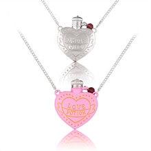 Amor poção coração garrafa colar acessórios criativo dupla face rosa garrafa link corrente colar para amante pingente jóias