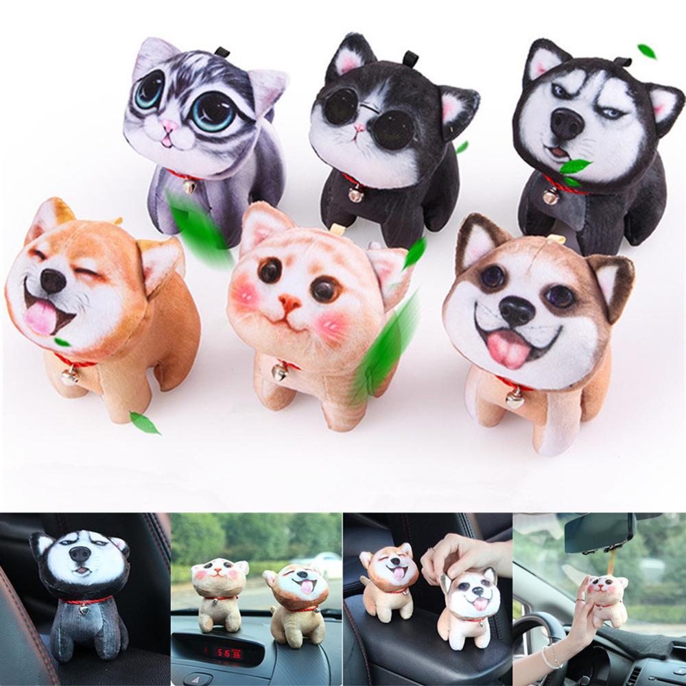 Cartoon Car Ornament 3D Cat Dog Doll Air Freshener Car Styling Dashboard Ornaments Pet Toy Auto Hanging Dog Cat Car Decoration