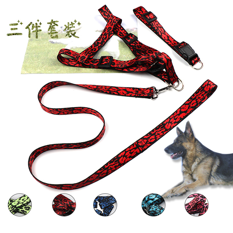 Dog Hand Holding Rope Chest And Back With Set Nylon Leopord Pattern Collar Chest And Back-Split Set
