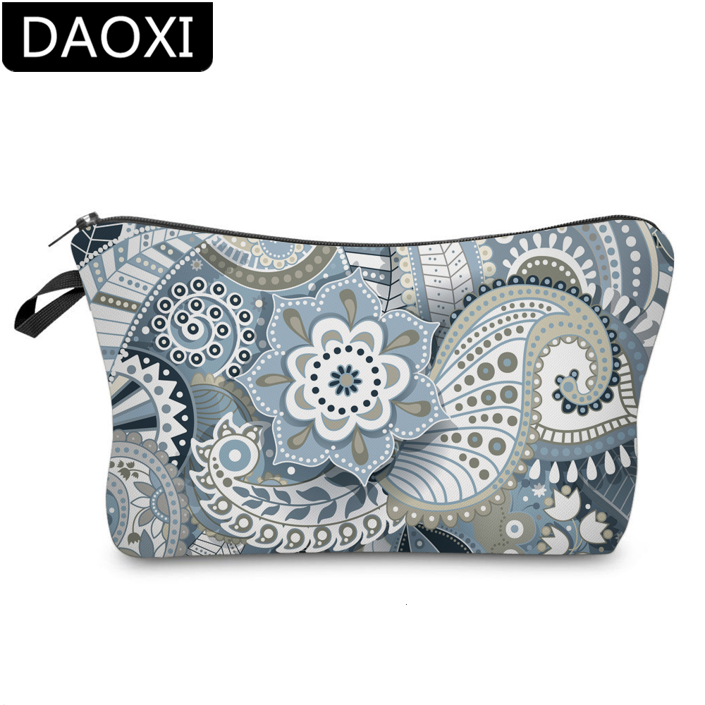 DAOXI Mandala Small Cosmetic Bags Gray Flower Waterproof Polyester Makeup Bag For Women DX51559