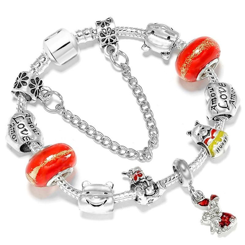 DINGLLY Bear Charm Bracelets For Women Boy Original Red Crystal Winnie Tigger Piglet Beaded Bracelet Bangle Child Jewelry(China)