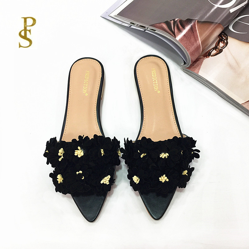 Image 2 - Womens shoes with flowers flat shoes pointed shoes lovely shoesSlippers   -
