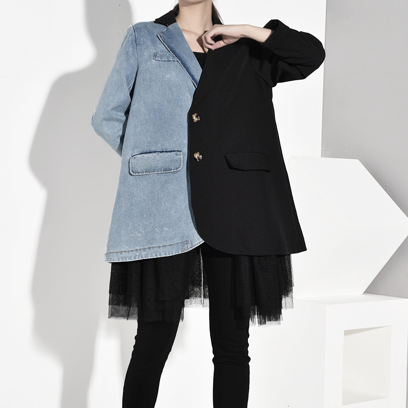 LANMREM 2019 NEW Spring And Summer Fashion Women Clothes Season Denim Patchwork Turn-down Collar Full Sleeves Mesh Jacket WF7180