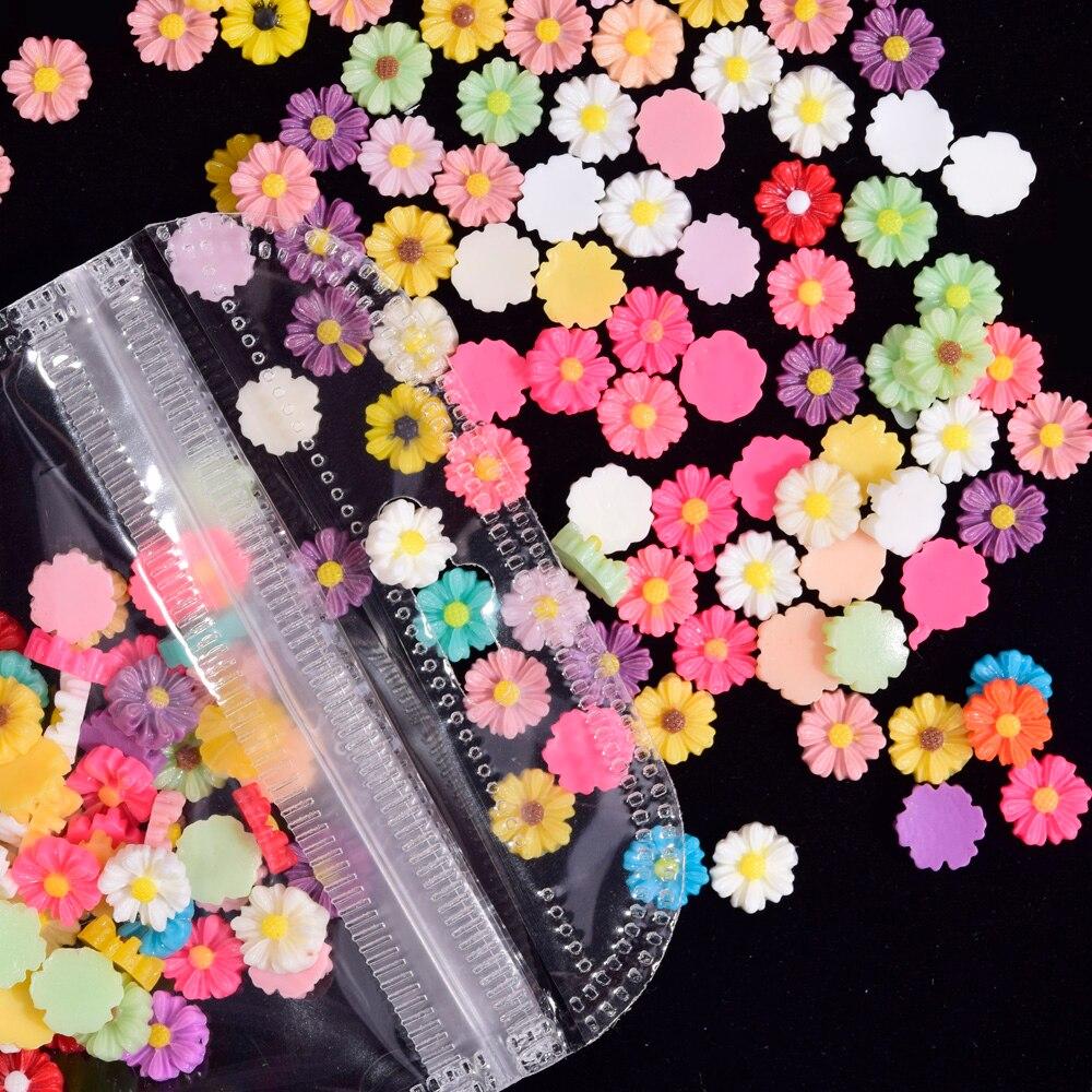 Купить 200 шт ногтей flowe 6 мм flatback цветок 100 ассорти алюминиевые