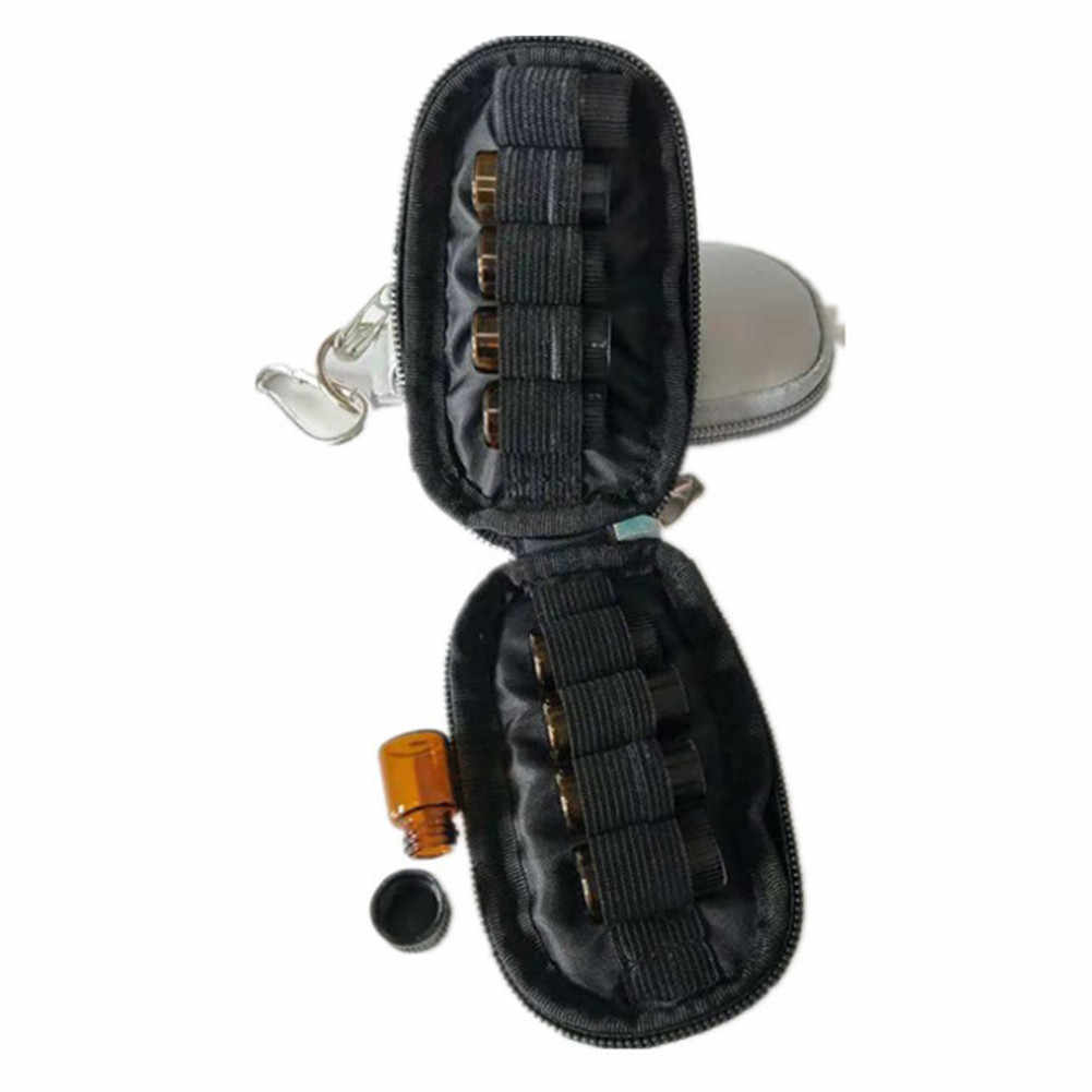 10 ızgara deri uçucu yağ şişe saklama çantası taşınabilir taşıma tutucu saklama aromaterapi çantası anahtarlık Mini paketi EVA Waterpro