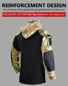 HAN WILD Tactical Hunting Shirt Combat Uniform Camouflage Outdoor Shirt Climbing Hiking Wear-resisting Equipment for Airsoft 4