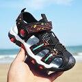 Сандалии для маленьких мальчиков; детская обувь; летние пляжные сандалии с закрытым носком для мальчиков; кроссовки с резиновой сеткой (сет...