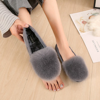 Flats Shoes Women Winter Fleece Loafers Shallow Square Toe Shoes Slip on Rabbit Fur Slides Big Size Comfortable Zapatos Mujer