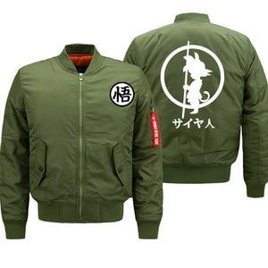 Image 1 - Mens Jacket Anime Dragon Ball Print Streetwear Coat Autumn Winter 2019 Thick Bomber Jackets Male Oversize S 8XL Military Jacket