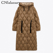 CNlalaxury autunno inverno donna Vintage Parka Jacket Coat Casual Warm Loose Hooded cappotti donna Oversize Long Outwear Ladies