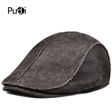 Pudi man real leather beret cap hat Winter warm real fur baseball caps hats one fur berets with earflap HL908 цена