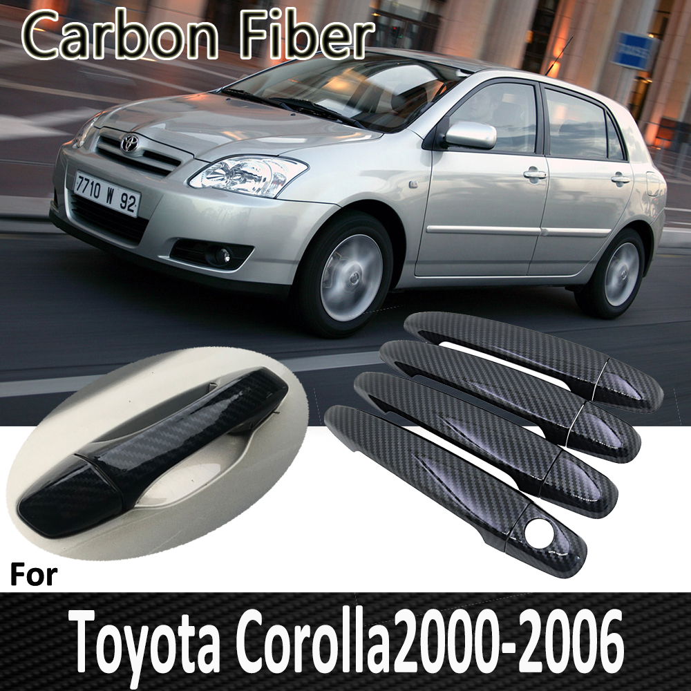 Black Carbon Fiber for Toyota <font><b>Corolla</b></font> <font><b>E120</b></font> E130 2000~2006 2001 2002 2003 2004 2005 Chrome Door Handle Cover Car Accessories image