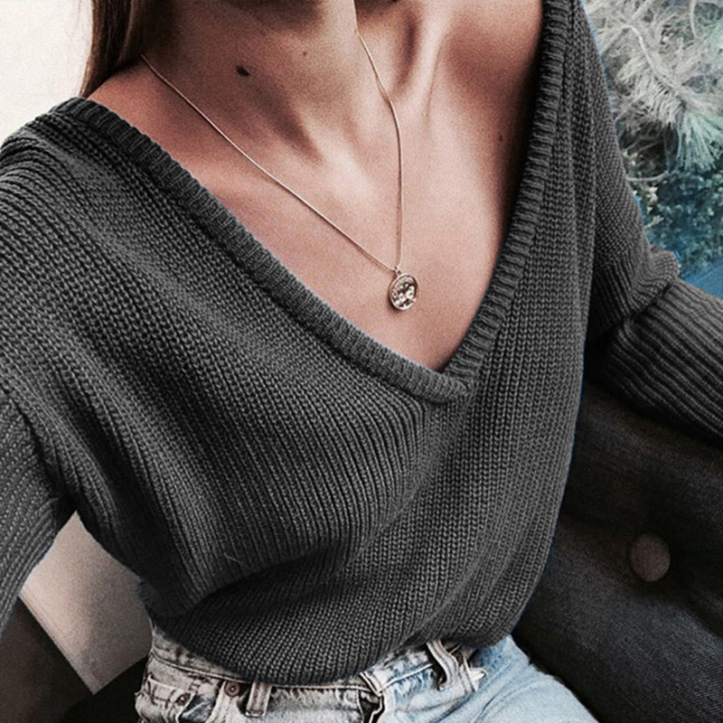 ZOGAA 2019 Autumn Winter Women Sweater Deep V Neck Ladies Casual Cotton Long Sleeve Sweater Female Solid Ladies Sexy Sweaters