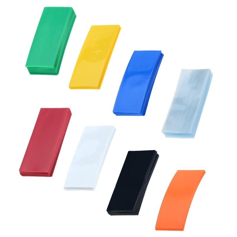 50/100 pces li-ion pvc calor psiquiatra tubulação 18650 bateria envoltório precut tamanho 72*18.5mm bateria fita filme capa de bateria 8 escolha de cor