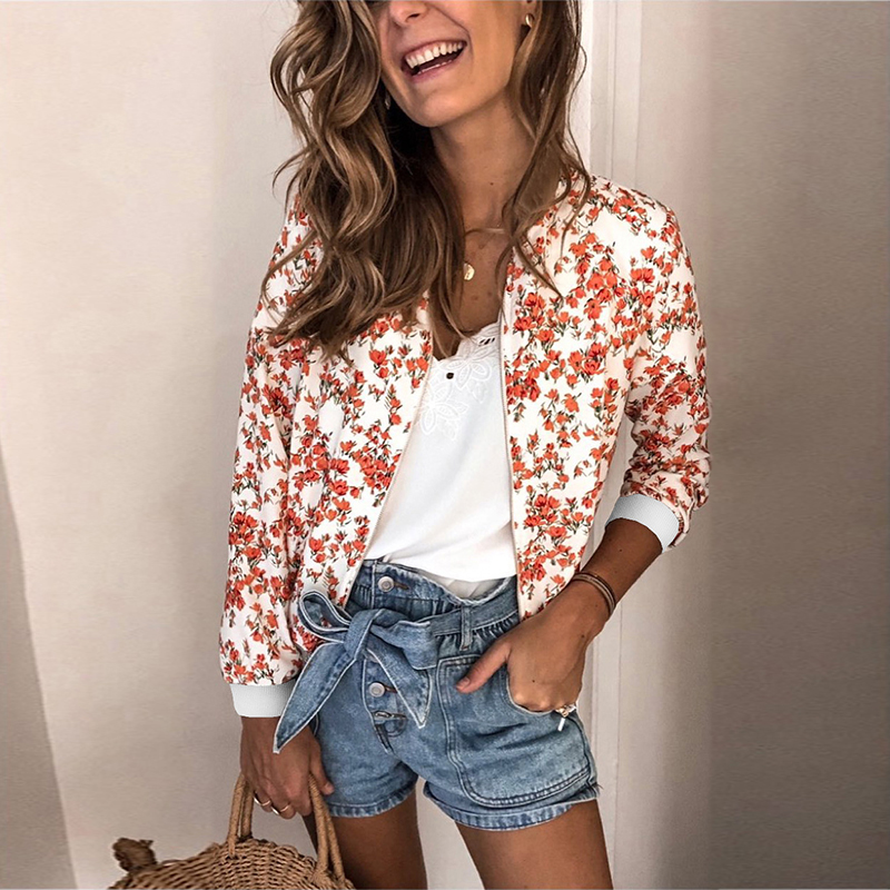 Women's Jackets Retro Floral Printed Ladies Zipper Up Bomber Outwear Autumn Long sleeve Short Thin Slim Casual Pocket Biker coats 4