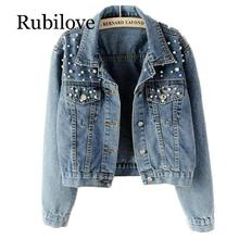 Rubilove 2019 Spring Women Light Blue Beading Slim Denim Jackets Korean Fashion Streetwear Jeans Coat Outfit
