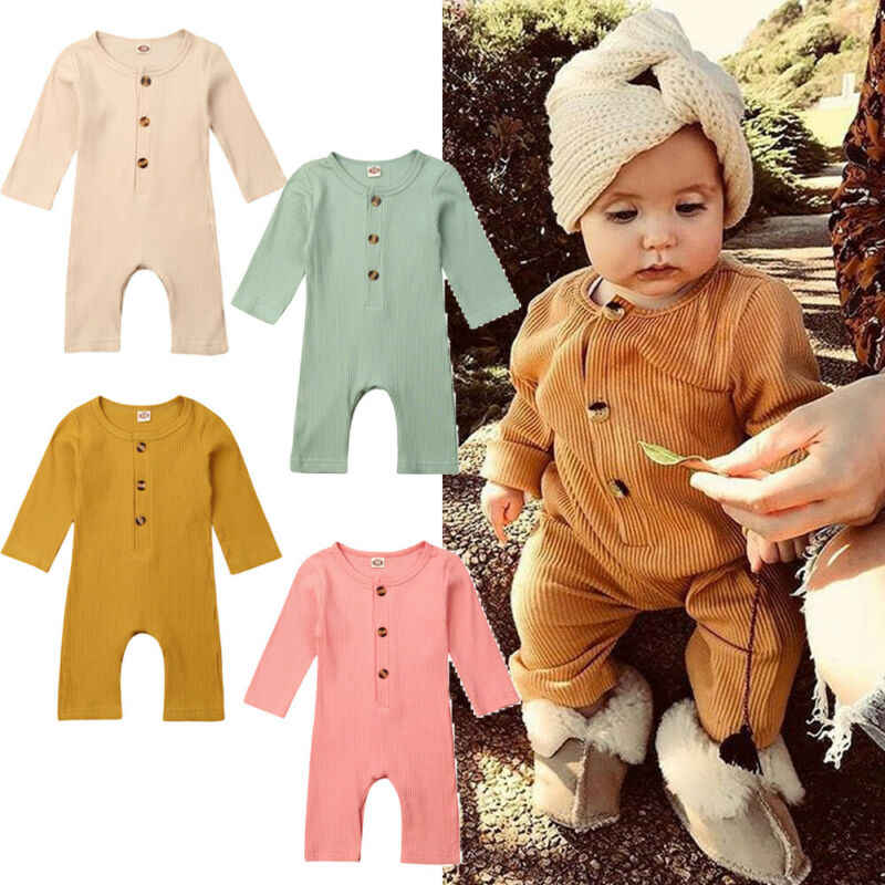 New Cute Baby Girl Boy Autumn Clothes Long Sleeve Romper Jumpsuit Outfits