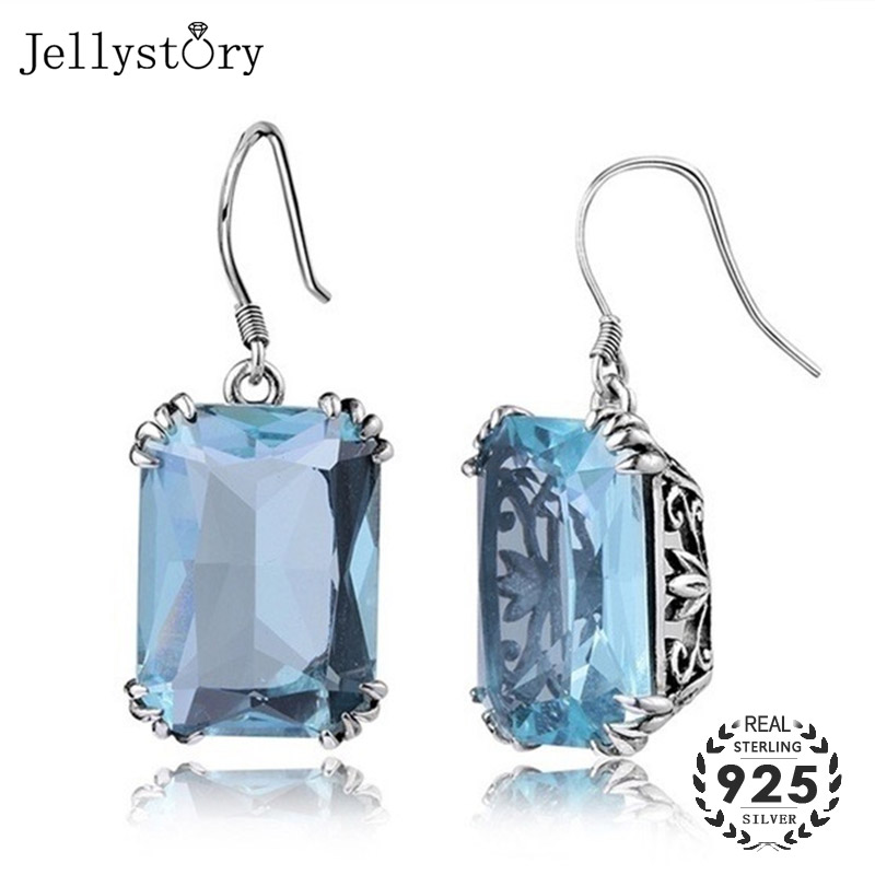 Jellystory Trendy 925 Sterling Silver Jewelry Drop Earrings With Rectangle Shape Sapphire Gemstone For Women Wedding Party Gift