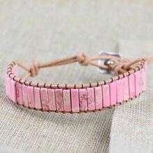 Natural stone Pink Turquoises Bracelet Tube Beads Leather Wrap Bracelet Couples Bracelets Chakra Bracelet Jewelry Handmade