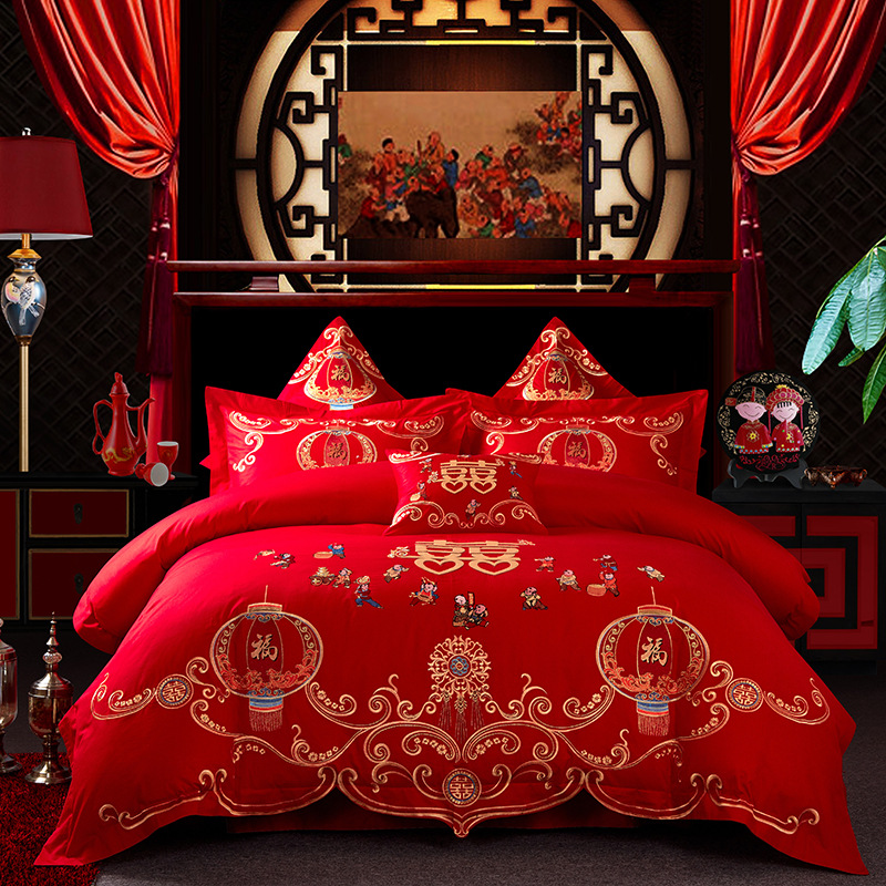 Factory Direct Selling Wedding Bedding Article 100% Cotton 4-piece Set Textile Cotton Bright Red Embroidered Marriage Pieces Of