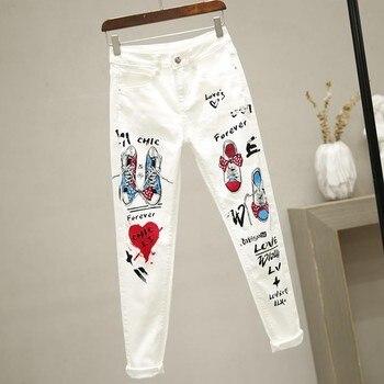 plus Size Women White Denim Jeans Cartoon Graffiti Flowers Print Stretched Hallen Jeans Pencil Pants Autumn Skinny Jeans LU1271 2
