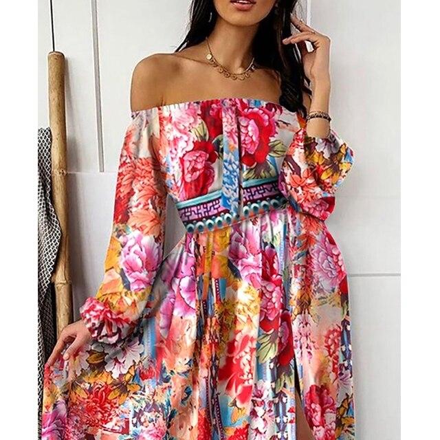 Lugentolo Maxi robe femmes 2020 Sumer col en v pull rétro manches longues grande balançoire hors de lépaule imprimer femmes longue robe
