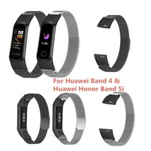 Bracelet For Huawei Band 4 Honor Band 5i Strap Metal Wristband Watchband Magnetic Watch Strap For Huawei Honor Band 5i Band for honor band 5 strap metal wrist bracelet for honor band 4 watch leather silicone strap for huawei honor band 4 5 wristbands