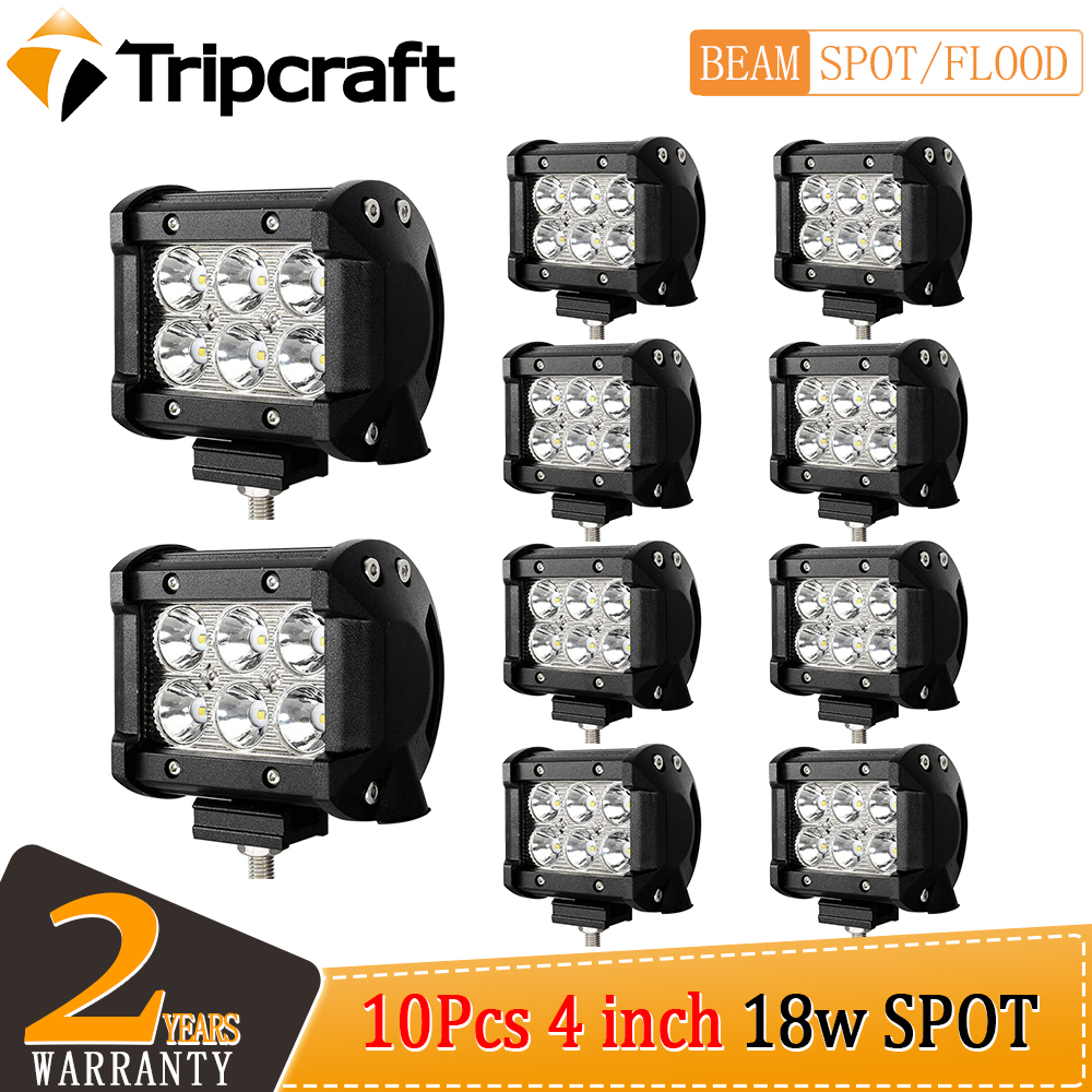 Tripcraft 2-10pcs 18W LED work Light spot 4InchBar for Car Boat OffRoad Tractor Off Road 4WD 4x4 Truck SUV ATV Driving 12V 24V