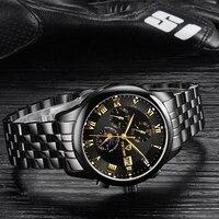 Relojes mecánicos de marca superior Tevise para hombre reloj automático multifunción de acero inoxidable reloj esqueleto de lujo reloj de hombre