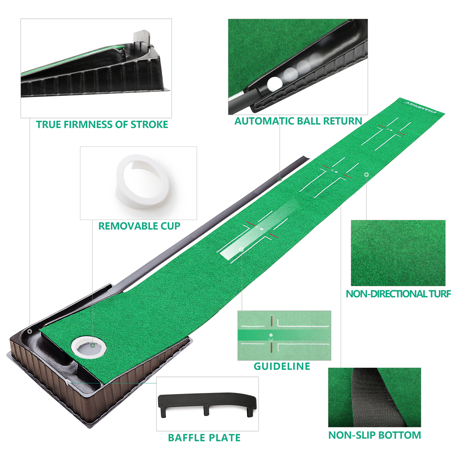 Champkey Indoor Outdoor Golf Putting Mat Golf Tee Mat / Exercise Mat