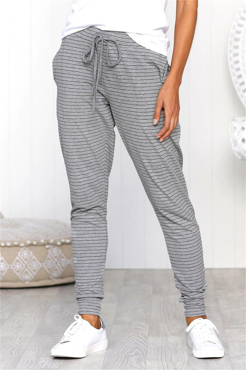 Women Long Pants For Streetwear Drawstring Design Beam Foot Striped Print Pencil Pants Lady Summer Casual Slim Trousers