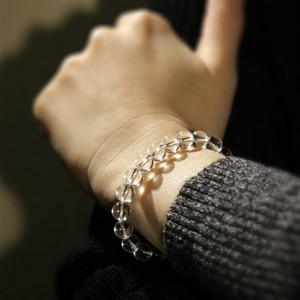 Image 4 - Natural Crystal 0.8cm  Rock Crystal White Quartz Beads Tibetan Buddha Prayer Mala Bracelet For Woman Buddhist Jewelry